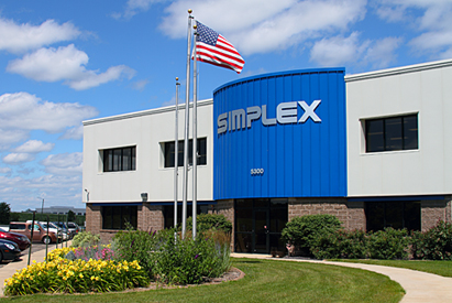 The  Simplex manufacturing facility at 5300 Rising Moon Road in Springfield, Illinois. The 110,000 sq. ft. building houses the Simplex manufacturing plant, warehouse and corporate offices.
